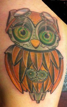 steampunk owl tattoo | Steampunk owl