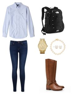 """Classic Preppy"" by zoeantonpeat ❤ liked on Polyvore featuring Polo Ralph Lauren, Tory Burch, Miss Selfridge, Pearls Before Swine, Tiffany & Co., Michael Kors, preppy, Prep, schoolday and southernprep"