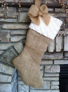 Burlap Christmas Stocking- Sherrie I thought of you.