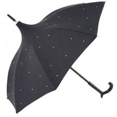 Elegant pagoda parasol from Brolliesgalore, black umbrella with UVP and features Swarovski diamante crystals scattered over the canopy. ✔ Free UK Express Delivery available, ✔ Fast Despatch, ✔ Handmade in France, available at Brolliesgalore
