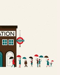 Underground print by Blanca Gomez Illustration Design Graphique, London Illustration, Illustration Art, Poster S, Poster Prints, Cute Captions, Doodles, London Art, Illustrations And Posters