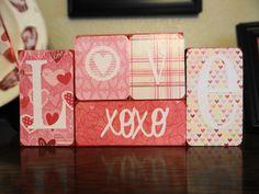 LOVE XOXO Wooden Valentines Day Decor