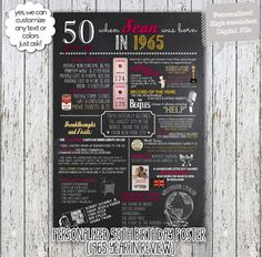 A fun 50th birthday customized digital printable poster for 1965 babies which include events, tidbits & facts from 1965! Perfect to print out and