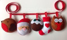 Hand Stitched Felt Christmas Garland Santa Robin by DevonlyCrafts, £25.00