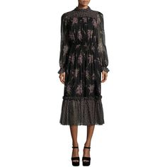 Michael Kors Collection Long-Sleeve Floral-Print Midi Dress ($1,080) ❤ liked on Polyvore featuring dresses, black a line dress, black dress, long sleeve black dress, long sleeve chiffon dress and black floral dress