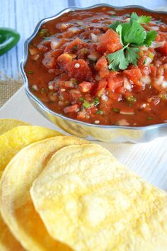 Cantina Style Salsa with Homemade Corn Tortilla Chips - The Housewife in Training Files
