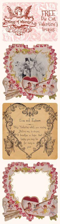 Wings of Whimsy: Vintage Die Cut Valentine's Images - free for personal use #vintage #ephemera #valentine #printable #freebie
