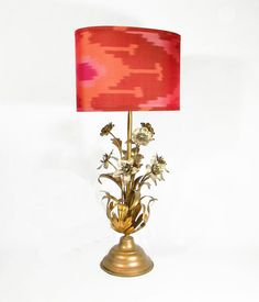 Vintage Ikat Lampshade  Coral Hot Pink Gold by MaterialRecovery, $165.00