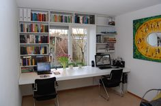 study in white HPL with cantilevered desk