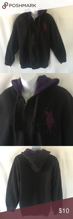 U.S. Polo Assn. full-zip hoodie. Black with eggplant-purple lined hoodie and emblem. Great condition, thanks! U.S. Polo Assn. Sweaters Zip Up