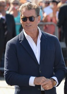 """Pierce Brosnan wearing Persol style PO9649-S 96/S3 while promoting his movie 'The November Man' in France at the Deauville Film Festival and also wears Persol in """"The November Man,"""" in which he can be seen wearing PO2747-S 95/31"""