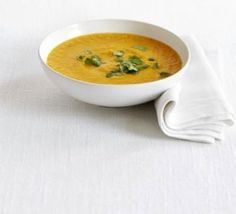 Sweet potato & lentil soup. Ingredients: curry, olive oil, onion, apple, garlic, coriander, ginger, sweet potatoes, stock, red lentils, milk, lime juice