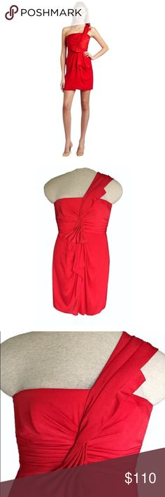 BCBGMaxAzria Red Silk One Shoulder Dress 🎁FREE GIFT when you bundle 2 or more items!!!🎁   BCBGMaxAzria one-shoulder cocktail dress.  Fiery red color. Asymmetrical neckline. Sleeveless. Single strap over left shoulder. Draped and gathered detail throughout. Boning in bodice for flattering form. Lightly padded cups at breast. Fully lined. Concealed center back zipper with hook-and-eye closure. 100% polyester. Size 2. Like new condition! You'll turn heads every time in this stunning dress…