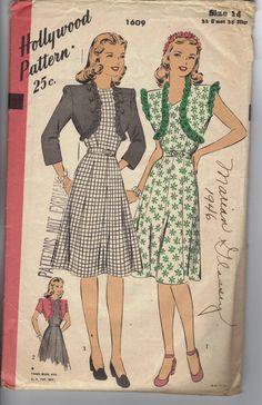Vintage Hollywood Pattern 1940's Dress Sz 14 1609. $12.00, via Etsy.