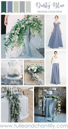 Blue themed wedding - dusty blue and greenery wedding color combo with bridesmaid dresses 2019 wedding weddinginspiration bridesmaids bridesmaiddress bridalparty maidofhonor weddingideas weddingcolors tulleandchan Wedding Flower Guide, Blue Wedding Flowers, Green Wedding, Blue Wedding Colors, January Wedding Colors, Winter Wedding Colors, Blue Bridesmaids, Bridesmaid Flowers, Wedding Venue Inspiration