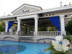 The entertainment pavilion above another pool with a swim-up bar.   #hibiscustravel  www.hibiscustravel.net  www.TheCaribbeanSpecialists.com Swim Up Bar, Pavilion, Swimming, Entertainment, Sandals, Beach, Outdoor Decor, Travel, Home Decor