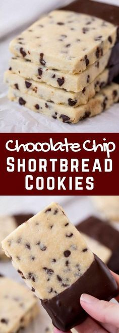Chocolate Chip Shortbread Cookies - Chocolate Chip - Ideas of Chocolate Chip - Chocolate Chip Shortbread Cookies are all the goodness of melt-in-your-mouth shortbread combined with a little bit of chocolate. Your family will love these easy tasty cookies! 13 Desserts, Cookie Desserts, Dessert Recipes, Cookie Bars, Good Cookie Recipes, Cookie Ideas, Party Desserts, Cake Recipes, Chocolate Chip Shortbread Cookies