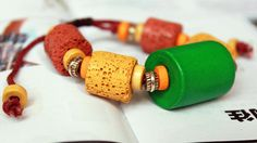 Fall Lava and Wooden Beads Handmade Bracelet 43 by Colourfashion, $9.00