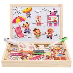 Joc montessori din lemn cu figurine si tablita Blackboards, Girl Cartoon, Marker, Montessori, Toy Chest, Storage Chest, Magnets, Drawings, Meal Prep