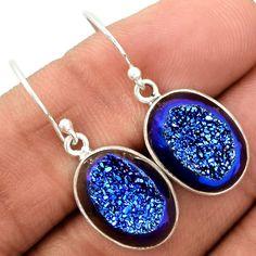 Titanium Druzy 925 Sterling Silver Earrings Jewelry TIDE347 - JJDesignerJewelry