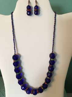 Dark blue, copper necklace set by CoolBeadsDesign on Etsy