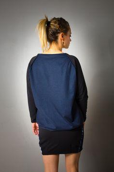 """Pull """"Sonia"""" pour femme, noir et jean bleu, asymétrique : Pulls, gilets par all-by-k"""
