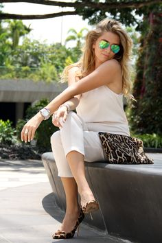 TOPSHOP pantsuit, HOBBS clutch, RAY BAN sunglasses, KURT GEIGER heels  Http://www.mungolife.fi