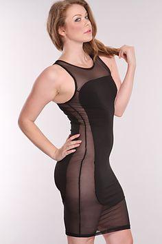 Plus Size Black Mesh Cut Out Sexy Dress $30