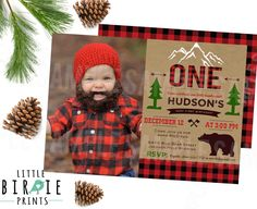 LUMBERJACK INVITATION - Lumberjack first birthday party invitation - Buffalo Plaid Invitation - Woodland Camping Bear Outdoor Invitation by littlebirdieprints on Etsy https://www.etsy.com/listing/254454952/lumberjack-invitation-lumberjack-first