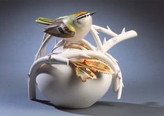 Firecrest teapot by Anne Corcoran
