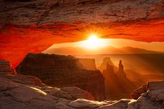 Sunrise - Mesa Arch, Canyonlands National Park, Utah (my sis-in law has this picture in her lounge room, the colour is just amazing!)
