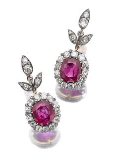 Queen Victoria Eugenia of Spain's pair of ruby and diamond pendent earrings