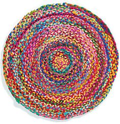 Hand-Made-Round-Chindi-Braided-Rug-Colourful-Lounge-Bedroom-Mat-Fair-Trade-60-cm