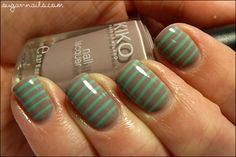 Stripes in nude and turquoise.