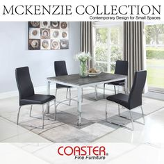 The Mckenzie Collection is perfect for apartments and small spaces! (Item# 121121)  Shop the look by finding an authorized near you by clicking on the picture!  #Decor #HomeDecor #HomeImprovement #HomeMakeover #HomeFurnishing #HomeGoals #InteriorDesign #Interior123 #InteriorDecor #HomeStyle #HomeInspiration #HomeInspo #DesignInspo #FurnitureDesign #DiningRoom #Table #Chair #Bench #CoasterCompany #Coaster