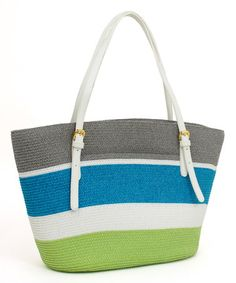 Another great find on #zulily! Lime & Blue Color Block Tote by Magid #zulilyfinds