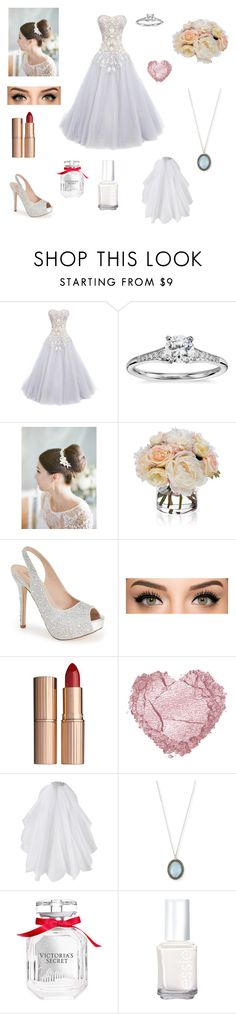 """Something old something New something white something blue"" by gracelovesanimals ❤ liked on Polyvore featuring Marchesa, Blue Nile, Diane James, Lauren Lorraine, Charlotte Tilbury, Us Angels, Armenta, Victoria's Secret and Essie"