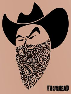 PAISLEY BANDIT TATTOO  I drew this up with just the outline of the kerchief.  The paisley design was added little by little till the whole thing was filled in.  The kerchief took a few days to finish.