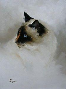 "beautiful Siamese. ""Original Oil painting Cat portrait by j payne birman"""