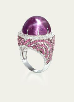Lavender Star Sapphire Ring. Lavender Star Sapphire, Pink Sapphires, and Diamond Pavé set in 18k White Gold. Tamsen Z, jeweler. (=)