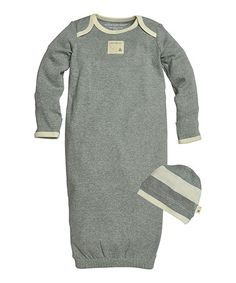 Love this Heather Gray & Rugby Stripe Organic Gown & Cap - Infant on #zulily! #zulilyfinds