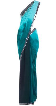 Shaded blue sequin work sari by SATYA PAUL. Shop at http://www.perniaspopupshop.com/whats-new/satya-paul-6807