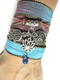 Bohemian Lotus Silk Wrap Bracelet Hamsa Yoga Jewelry by HVart, $29.95