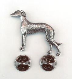 Greyhound Badge Pin Brooch UK Pewter, Gift Box Option - Greyhound Gifts Presents Lurcher, Metallic Bag, Rhinestone Jewelry, Whippet, Pet Gifts, Pin Badges, Brooch Pin, Pewter, Fancy