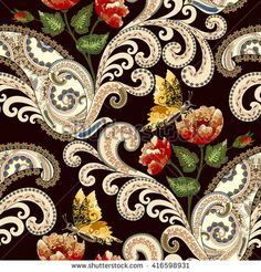 seamless pattern with beige swirls, paisley with festoons, decorated with red and yellow poppies,yellow butterflies on a dark burgundy background