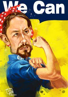 """Lider de """"Podemos"""". Caricatura digital. E.Pitarch © 2014."""