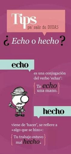 hecho de hacer y echo de echar ✿ Spanish Learning/ Teaching Spanish / Spanish Language / Spanish vocabulary / Spoken Spanish ✿ Share it with people who are serious about learning Spanish! Spanish Grammar, Ap Spanish, Spanish Vocabulary, Spanish Words, Spanish Language Learning, Spanish Teacher, Spanish Classroom, Spanish Lessons, How To Speak Spanish