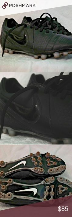 Women's All Black Nike ID Custom Cleats All black custom artificial grass soccer cleats. I purchased them online from eBay used once. Unfortunately they run about half a size small and my feet are too squished to be able to keep using them. The photos don't do justice and I'm really really bummed they are too small :( your gain! Tag size 7.5 but fit like a 7. Some dirt in between the cleats and in some of the seams, but in like new condition besides that! Nike Shoes Athletic Shoes