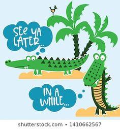 Azindianlany portfóliója a Shutterstock alatt Plant Leaves, Crocodile, Character, Crocodiles, Lettering