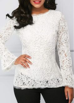 White Flare Cuff Round Neck Lace Blouse   Rosewe.com - USD $33.69